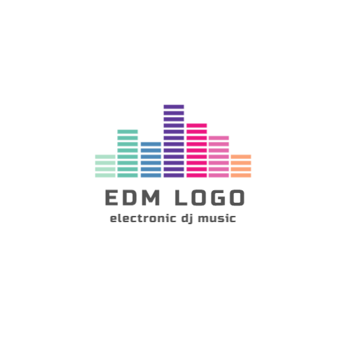 Electronic dj music logo design