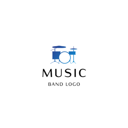 Music band logo with drum set
