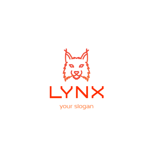 оранжевая голова рыси логотип