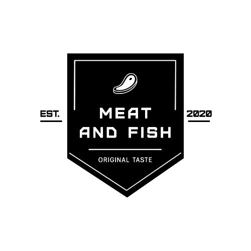 Meat And Fish, Original Taste, Est., 2020 Logo
