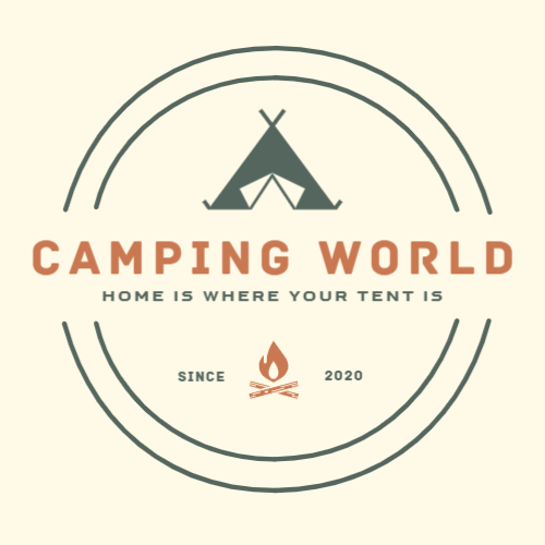 Camping goods logo with tent
