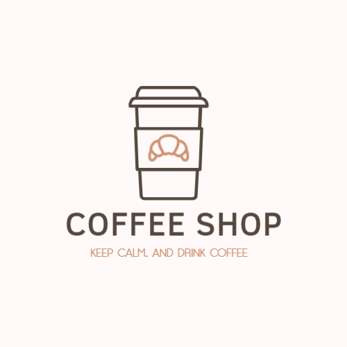 Coffee shop logo with a glass of coffee