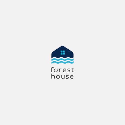 Blue house and waves logo