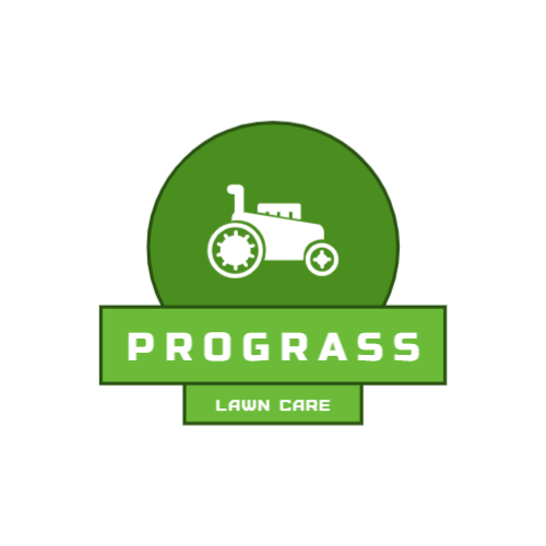 Lawn care firm logo with a lawn mower