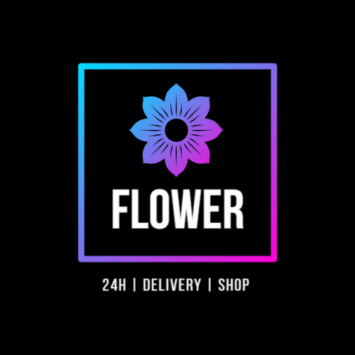 Flower shop logo with flower delivery