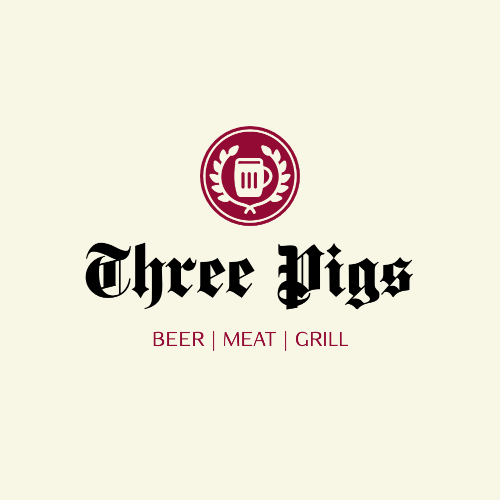 Three Pigs, Beer   Meat   Grill Logo