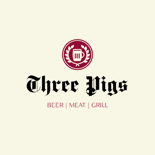 Logo for restaurant with beer, meat and grill