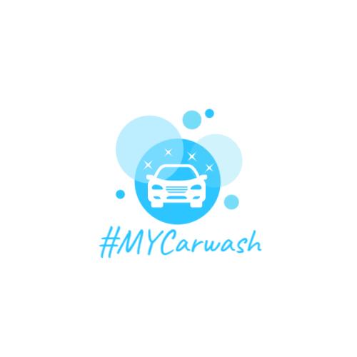 синий логотип машины пузырь