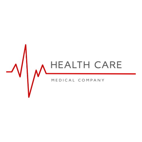 Medical company logo with heartbeat line