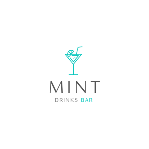 Bar logo with cocktails and drinks